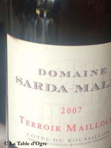 Auberge de La Caillère Côtes du Roussillon Domaine Sarda-Malet