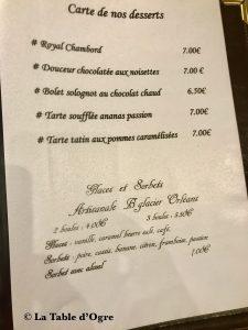 Auberge Le Beauharnais Carte Desserts