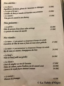 Auberge Le Beauharnais Carte