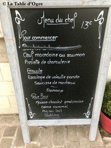 Auberge solognote Ardoise menu du jour
