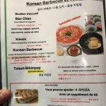 Korean Barbecue Delambre Menu coréen