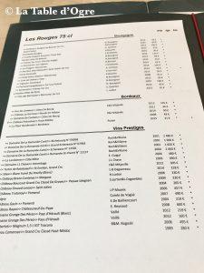 L'Essentiel Carte vins rouges