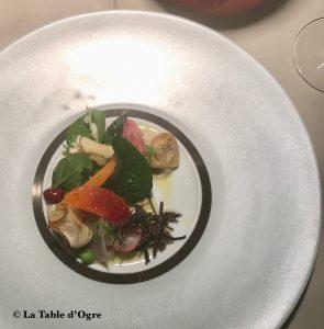 Emporio Armani Ristorante Mange tout artichauts violets petits légumes fruits croquants 2