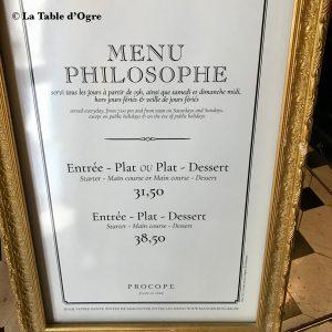 Le Procope Menu philosophe