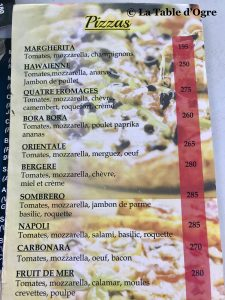 The Spoon Carte pizzas