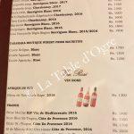 La Table du Château Carte vins blancs 2