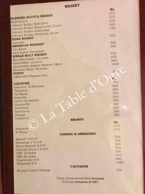 La Table Du Chteau Carte Whisky