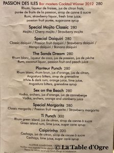 Sands Resort and Spa Carte cocktails