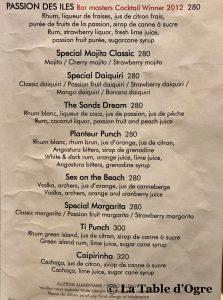 Sands Resort and Spa Carte cocktails