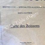 Le Trésor Carte Boissons Présentation