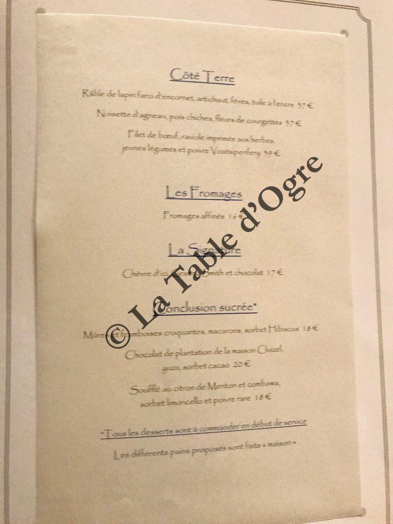 Charles Barrier Carte Terre et desserts