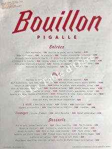 Bouillon Pigalle Carte solides