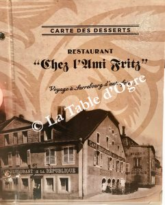 L'ami Fritz Carte desserts présentation