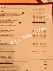 Le Clos bourguignon Carte vins