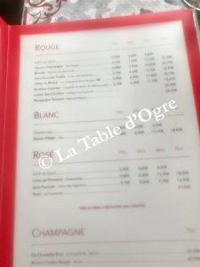 Rosalie Grill Carte vins