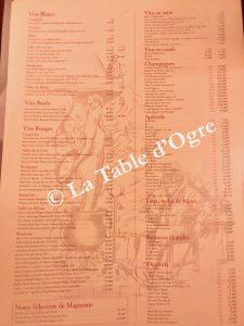 Sébillon Carte vins
